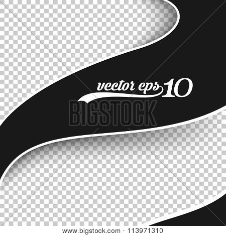 black & white wave banner frame embossed on checkered background