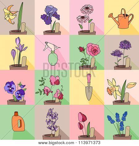 Seamless pattern with growing flowers in pots. Endless texture for your design, greeting cards, announcements, posters.
