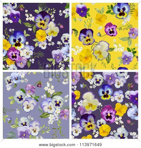 Pansy Flowers Background Set- Seamless Floral Shabby Chic Patterns - in vector