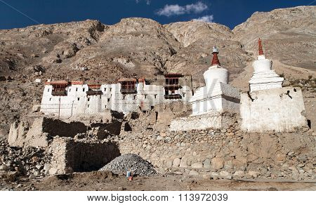 Royal Palace With White Buddhist Stupas In Tiger Village