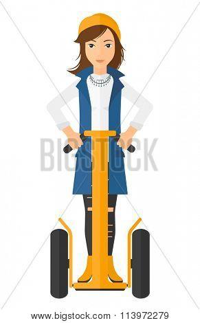 Woman riding on segway.