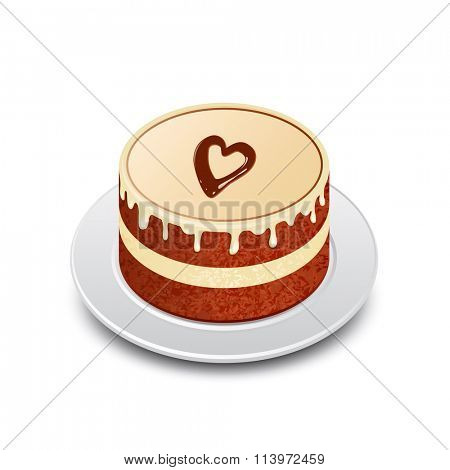 Chocolate cake with chocolate heart. Valentine's cake. Vector illustration