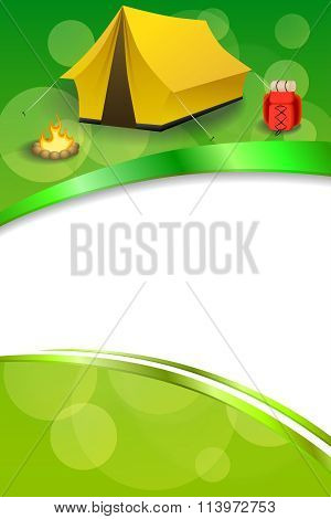 Background abstract green camping tourism yellow tent red backpack bonfire frame vertical ribbon
