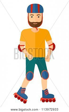 Sporty man on rollerblades.