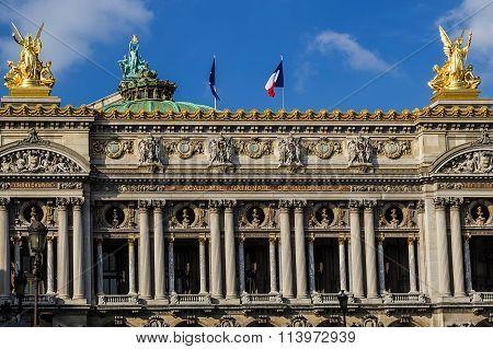 Architectural Details Of Opera National De Paris. Front Facade 1