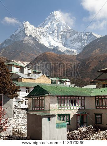 Mount Ama Dablam And Pangboche Village Near Namche Bazar