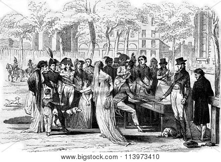 A concert at the Champs Elysees in the consulate, vintage engraved illustration. Magasin Pittoresque 1867.