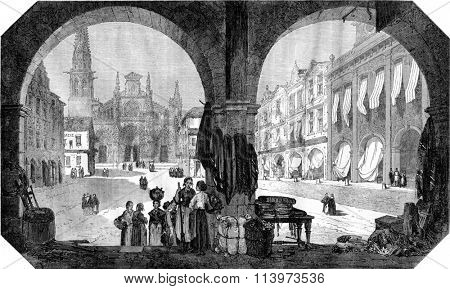 Square and Church of Bazas, Gironde, vintage engraved illustration. Magasin Pittoresque 1867.