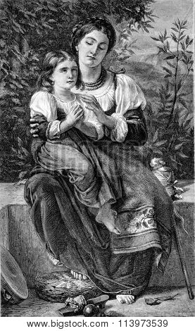 Prayer, painting Mr Alfred de Curzon, vintage engraved illustration. Magasin Pittoresque 1867.