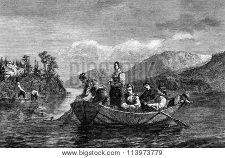 Norwegian fishermen on Lake Mioessen, vintage engraved illustration. Magasin Pittoresque 1857.