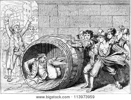 A Jew runs into a barrel by the Romans, vintage engraved illustration. Magasin Pittoresque 1857.