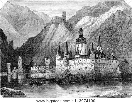 The Pfalz, Rhine castle, vintage engraved illustration. Magasin Pittoresque 1857.