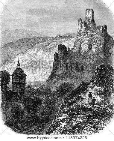 Ruins of Sonneberg Castle near Wiesbaden, vintage engraved illustration. Magasin Pittoresque 1857.