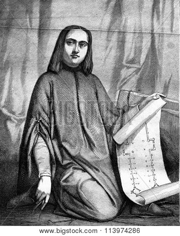 The student or young architect of the Middle Ages, pastel by Marshal, vintage engraved illustration. Magasin Pittoresque 1857.