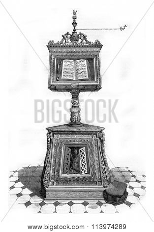 Wooden lectern in the church of Santa Maria in Organo, Verona, vintage engraved illustration. Magasin Pittoresque 1857.