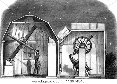 Amateur observatories, Interior views, vintage engraved illustration. Magasin Pittoresque 1857.