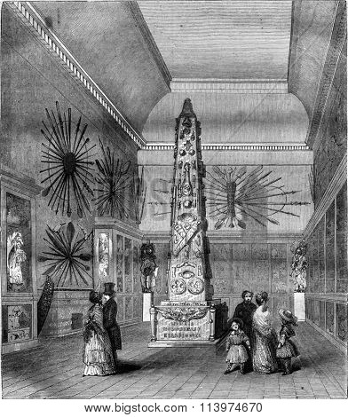 Naval Museum in the Louvre, Room La Perouse first sight, vintage engraved illustration. Magasin Pittoresque 1847.
