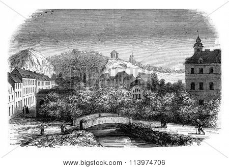Bohemia, View of Schonau, taken from the terrace of the hotel's Neubad, vintage engraved illustration. Magasin Pittoresque 1847.