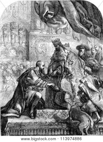 Columbus received from Ferdinand and Isabella in the casa Deputacion, in Barcelona, vintage engraved illustration. Magasin Pittoresque 1853.