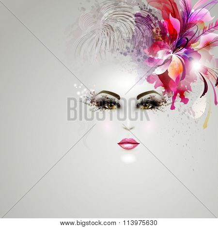 young woman in artistic image with hair decoration