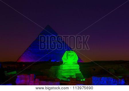 Beautifully illuminated Giza Pyramids in Cairo, Egypt