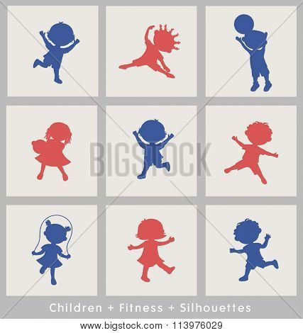 active sports cartoon kids silhouettes