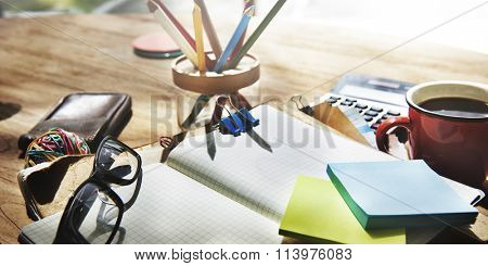 Adhsive Note Cluttered Objects Office Working Station Concept