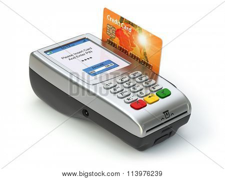 POS terminal with credit card isolated on white. Paying. 3d