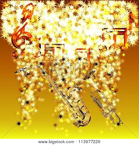 musical notes in a cloud of stars saxophone