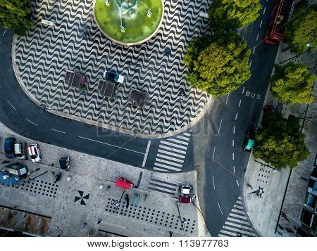 Top View of Rossio Square, Lisbon, Portugal