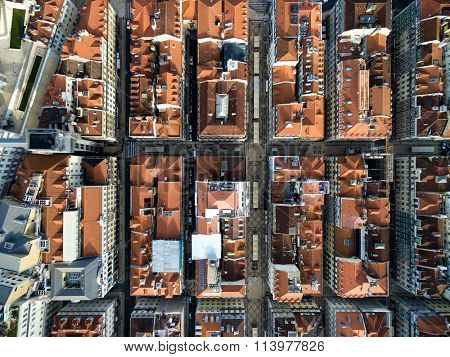 Top View of Baixa Chiado, Lisbon, Portugal