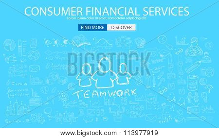 Consumer Financial Service concept wih Doodle design style :finding solution, brainstorming, creative thinking. Modern style illustration for web banners, brochure and flyers.