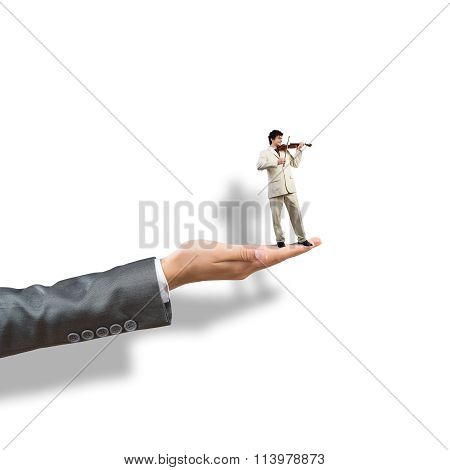 Palm supporting businessman