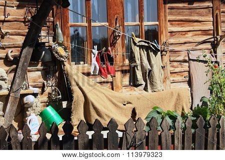 How an old traditional Bulgarian house yard looks like