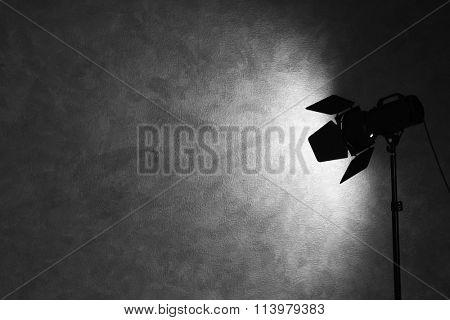 Lighting equipment in empty photo studio