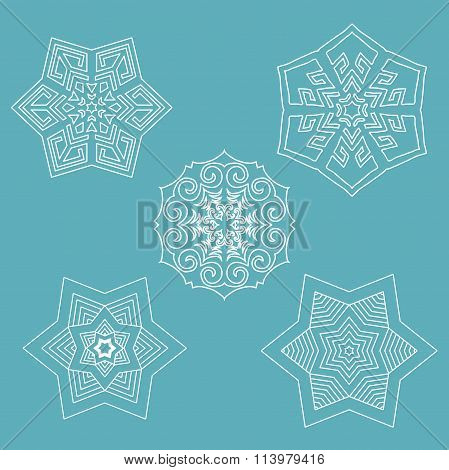 Set of flat line vector snowflakes with shadows on blue background. Christmas and New Year decoratio