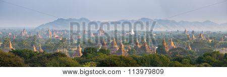 Panorama view of The plain of Bagan(Pagan), Mandalay, Myanmar.