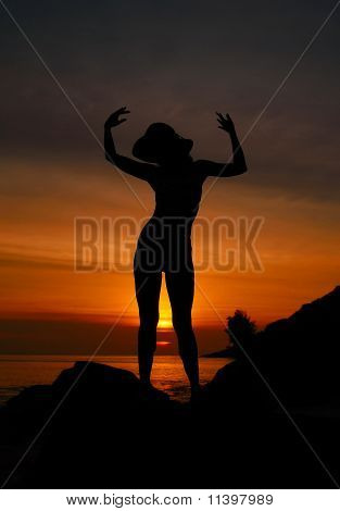 Sunset Woman Silhouette