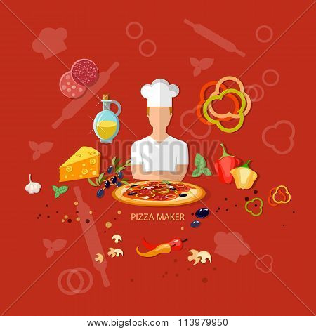 Pizzeria Pizza Ingredients Cook Tomatoes Cheese Dough Rolling Pin