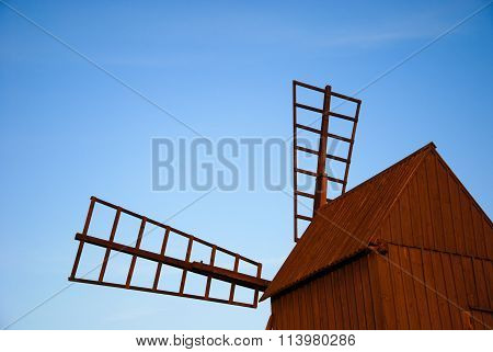Detail Of An Old Wooden Windmill