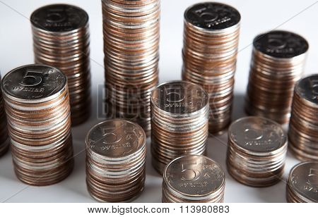 Plurality Of Stacks Of Five-ruble Coins