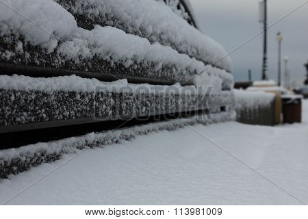 Bench In The Street Snow