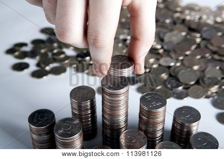 Five-ruble Coin In Man's Hands