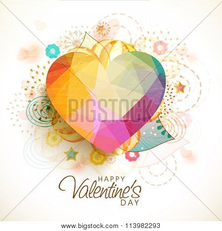 Creative colorful origami heart on abstract background for Happy Valentine's Day celebration.