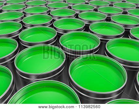 3D Green Pots Of Paint