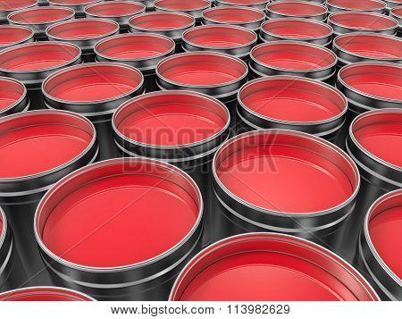 3D Red Pots Of Paint Of Paint