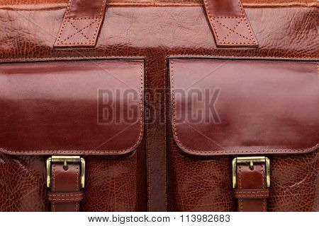 Brown Natural Leather Men Bag Closeup