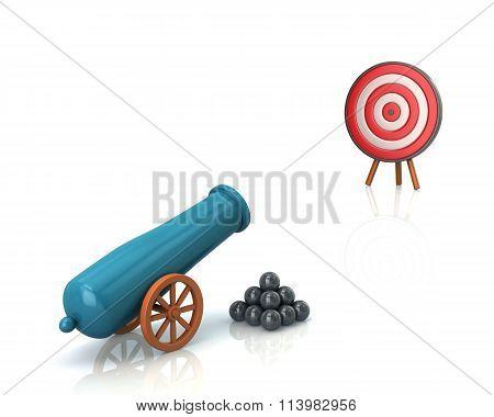 Illustration Of Artillery Gun And Target