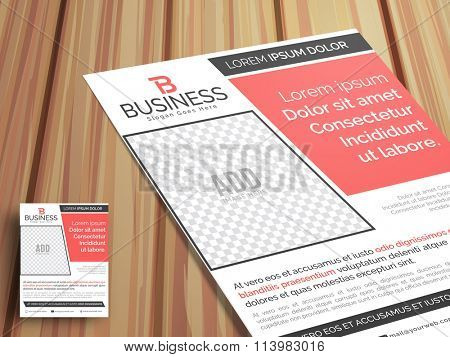 Professional stylish One Page, Business Flyer, Banner or Pamphlet with image space on wooden background.