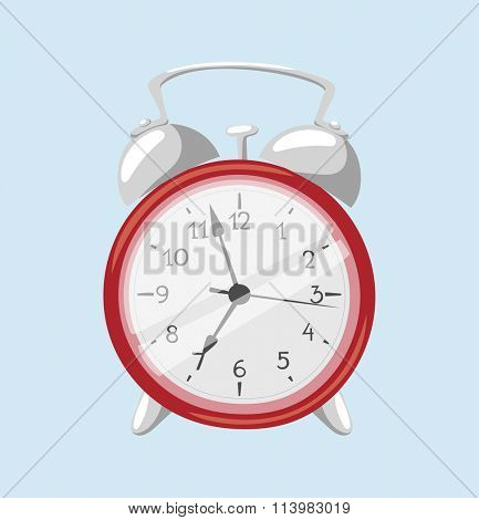 Clock watch alarm vector icon object illustration. Clock icon isolated on background. Clock watch silhouette. Modern style clock alarm. Time alarm watch flat style icon symbol isolated